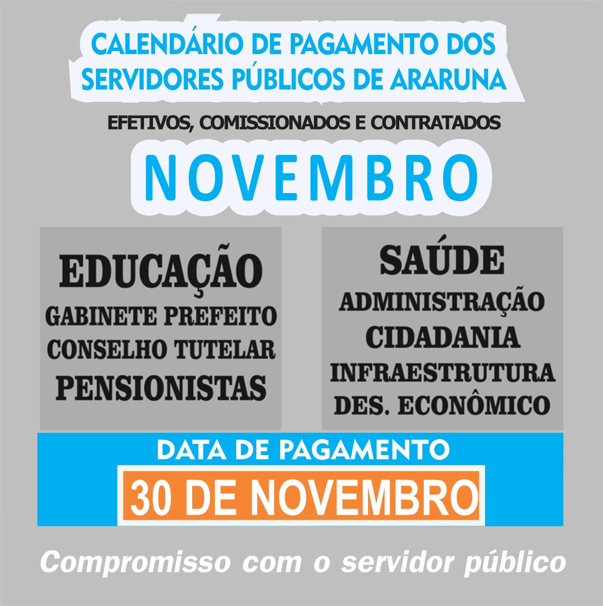 DENTRO DO MÊS: Servidores da Prefeitura de Araruna recebem pagamento do mês de novembro nesta segunda