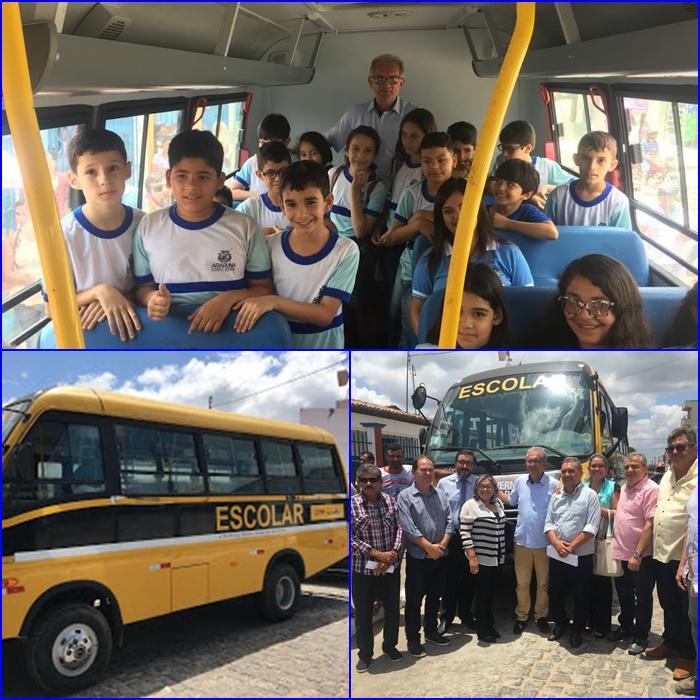 Prefeitura de Araruna entrega mais um micro-ônibus escolar e novas carteiras aos estudantes