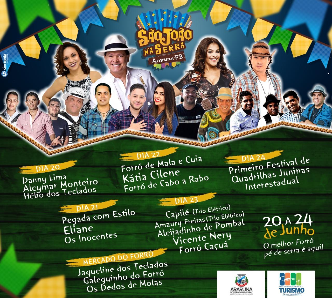 São João em Araruna terá shows com Alcymar Monteiro, Eliane, Vicente Nery, Katia Cilene e outros
